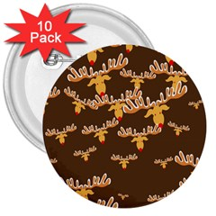 Christmas Reindeer Pattern 3  Buttons (10 pack)