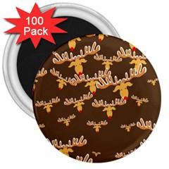 Christmas Reindeer Pattern 3  Magnets (100 pack)