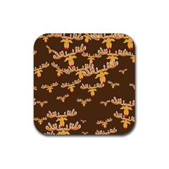Christmas Reindeer Pattern Rubber Square Coaster (4 pack)