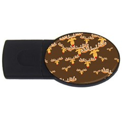 Christmas Reindeer Pattern USB Flash Drive Oval (1 GB)