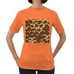 Christmas Reindeer Pattern Women s Dark T Shirt
