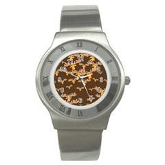 Christmas Reindeer Pattern Stainless Steel Watch