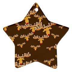 Christmas Reindeer Pattern Star Ornament (Two Sides)