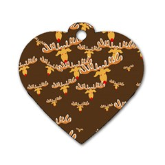 Christmas Reindeer Pattern Dog Tag Heart (one Side)