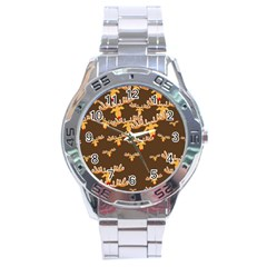 Christmas Reindeer Pattern Stainless Steel Analogue Watch