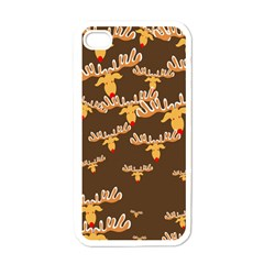 Christmas Reindeer Pattern Apple iPhone 4 Case (White)
