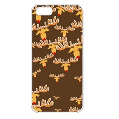 Christmas Reindeer Pattern Apple iPhone 5 Seamless Case (White)