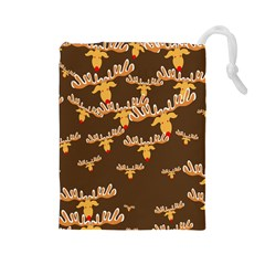 Christmas Reindeer Pattern Drawstring Pouches (Large)