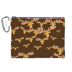 Christmas Reindeer Pattern Canvas Cosmetic Bag (XL)