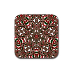 Christmas Kaleidoscope Rubber Square Coaster (4 pack)