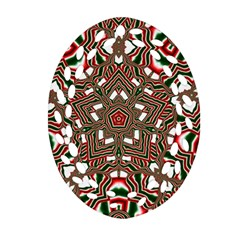 Christmas Kaleidoscope Oval Filigree Ornament (Two Sides)