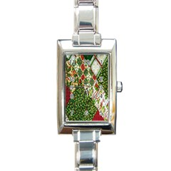 Christmas Quilt Background Rectangle Italian Charm Watch