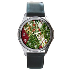 Christmas Quilt Background Round Metal Watch