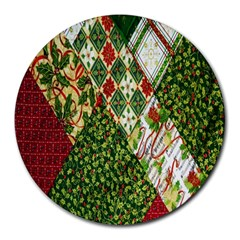 Christmas Quilt Background Round Mousepads