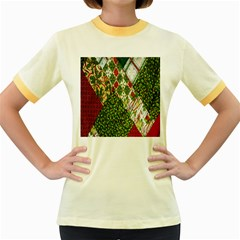 Christmas Quilt Background Women s Fitted Ringer T-Shirts