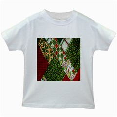 Christmas Quilt Background Kids White T-Shirts