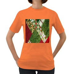 Christmas Quilt Background Women s Dark T-Shirt