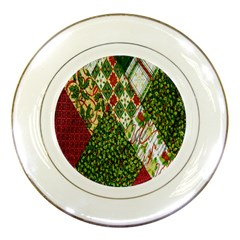 Christmas Quilt Background Porcelain Plates