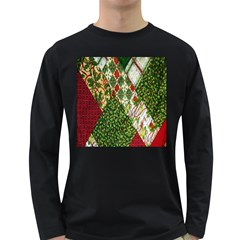 Christmas Quilt Background Long Sleeve Dark T Shirts
