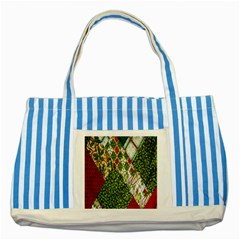 Christmas Quilt Background Striped Blue Tote Bag