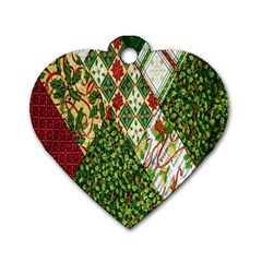 Christmas Quilt Background Dog Tag Heart (one Side)