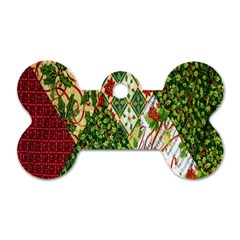 Christmas Quilt Background Dog Tag Bone (Two Sides)