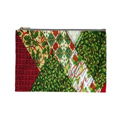 Christmas Quilt Background Cosmetic Bag (Large)