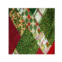 Christmas Quilt Background Small Satin Scarf (Square)