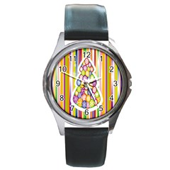 Christmas Tree Colorful Round Metal Watch