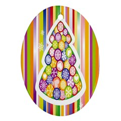 Christmas Tree Colorful Ornament (oval)