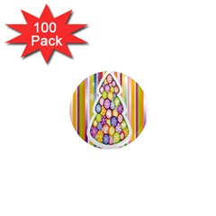 Christmas Tree Colorful 1  Mini Magnets (100 Pack)