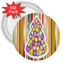 Christmas Tree Colorful 3  Buttons (100 pack)