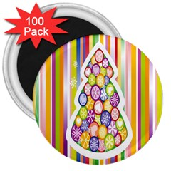 Christmas Tree Colorful 3  Magnets (100 pack)