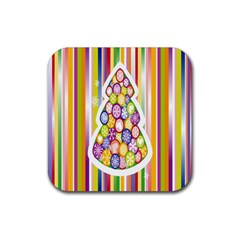 Christmas Tree Colorful Rubber Square Coaster (4 pack)