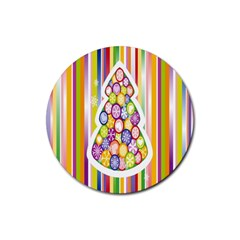 Christmas Tree Colorful Rubber Coaster (Round)