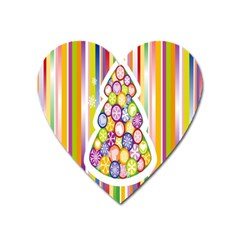 Christmas Tree Colorful Heart Magnet