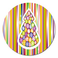 Christmas Tree Colorful Magnet 5  (Round)
