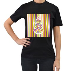 Christmas Tree Colorful Women s T-Shirt (Black) (Two Sided)
