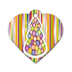 Christmas Tree Colorful Dog Tag Heart (Two Sides)