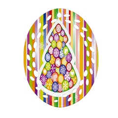 Christmas Tree Colorful Oval Filigree Ornament (Two Sides)