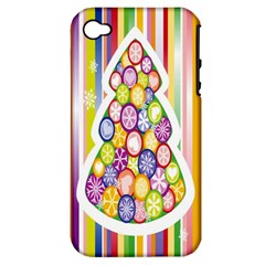 Christmas Tree Colorful Apple Iphone 4/4s Hardshell Case (pc+silicone)