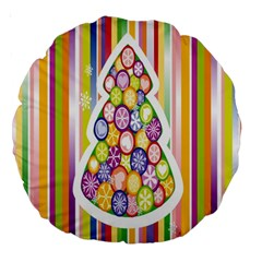 Christmas Tree Colorful Large 18  Premium Round Cushions