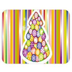 Christmas Tree Colorful Double Sided Flano Blanket (Medium)