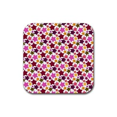 Christmas Star Pattern Rubber Square Coaster (4 pack)