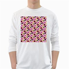 Christmas Star Pattern White Long Sleeve T-Shirts