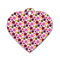 Christmas Star Pattern Dog Tag Heart (Two Sides)
