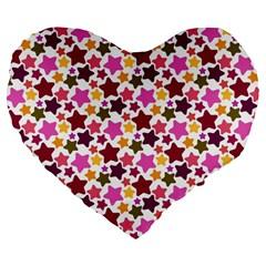 Christmas Star Pattern Large 19  Premium Flano Heart Shape Cushions