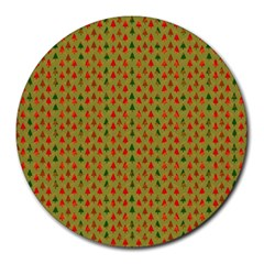 Christmas Trees Pattern Round Mousepads