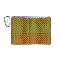 Christmas Trees Pattern Canvas Cosmetic Bag (M)