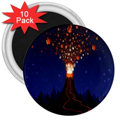 Christmas Volcano 3  Magnets (10 pack)